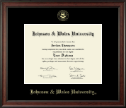 Johnson & Wales University in Rhode Island Diploma Frame - Gold Embossed Diploma Frame in Studio