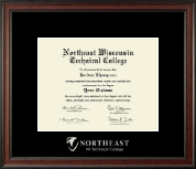 Northeast Wisconsin Technical College Diploma Frame - Silver Embossed Diploma Frame in Studio