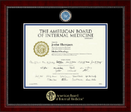 American Board of Internal Medicine Certificate Frame - Masterpiece Medallion Certificate Frame in Sutton