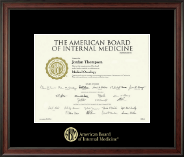 American Board of Internal Medicine Certificate Frame - Gold Embossed Certificate Frame in Studio