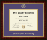 West Chester University Diploma Frame - Gold Embossed Diploma Frame in Murano