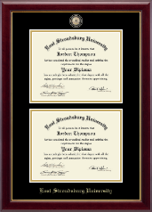East Stroudsburg University Diploma Frame - Masterpiece Medallion Double Diploma Frame in Gallery