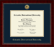 Columbia International University Diploma Frame - Gold Engraved Medallion Diploma Frame in Sutton