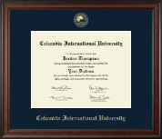 Columbia International University Diploma Frame - Gold Embossed Diploma Frame in Studio