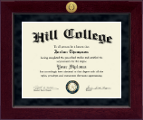 Hill College Diploma Frame - Millennium Gold Engraved Diploma Frame in Cordova