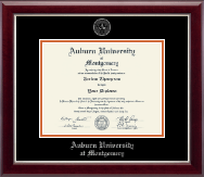 Auburn University Montgomery Diploma Frame - Silver Embossed Diploma Frame in Gallery Silver