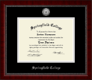 Springfield College Diploma Frame - Silver Engraved Medallion Diploma Frame in Sutton