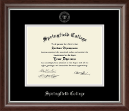 Springfield College Diploma Frame - Silver Embossed Diploma Frame in Devonshire