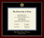 The University of Tulsa Diploma Frame - Gold Engraved Medallion Diploma Frame in Sutton