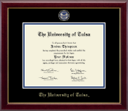 The University of Tulsa Diploma Frame - Masterpiece Medallion Diploma Frame in Gallery