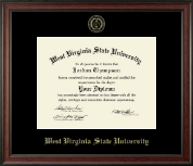 West Virginia State University Diploma Frame - Gold Embossed Diploma Frame in Studio