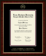Texas Southern University Diploma Frame - Gold Embossed Diploma Frame in Murano