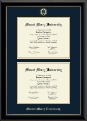 Mount Mercy University Diploma Frame - Double Diploma Frame in Onyx Gold