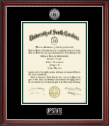 University of South Carolina Upstate Diploma Frame - Silver Engraved Medallion Diploma Frame in Kensington Silver
