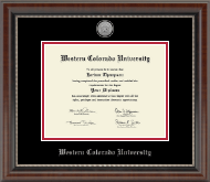 Western Colorado University Diploma Frame - Silver Engraved Medallion Diploma Frame in Chateau