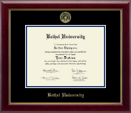 Bethel University Indiana Diploma Frame - Gold Embossed Diploma Frame in Gallery