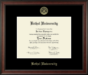 Bethel University Indiana Diploma Frame - Gold Embossed Diploma Frame in Studio