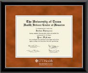 University of Texas Health Science Center at Houston Diploma Frame - Silver Embossed Diploma Frame in Onyx Silver