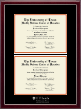 University of Texas Health Science Center at Houston Diploma Frame - Double Diploma Frame in Gallery Silver