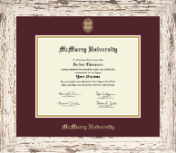 McMurry University Diploma Frame - Gold Embossed Diploma Frame in Barnwood White