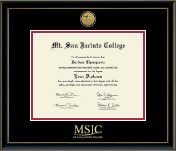 Mt. San Jacinto College Diploma Frame - Gold Engraved Medallion Diploma Frame in Onexa Gold