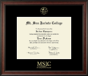 Mt. San Jacinto College Diploma Frame - Gold Embossed Diploma Frame in Studio
