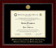 Western Connecticut State University Diploma Frame - Gold Engraved Medallion Diploma Frame in Sutton