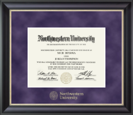 Northwestern University Diploma Frame - Gold Embossed Diploma Frame in Noir
