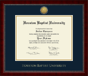 Houston Baptist University Diploma Frame - Gold Engraved Medallion Diploma Frame in Sutton