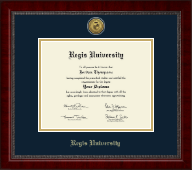Regis University Diploma Frame - Gold Engraved Medallion Diploma Frame in Sutton