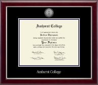 Amherst College Diploma Frame - Silver Engraved Medallion Diploma Frame in Gallery Silver