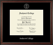 Amherst College Diploma Frame - Silver Embossed Diploma Frame in Studio