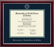 University of North Texas at Dallas Diploma Frame - Silver Embossed Diploma Frame in Gallery Silver