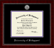 University of Bridgeport Diploma Frame - Silver Engraved Medallion Diploma Frame in Sutton