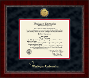 Wesleyan University Diploma Frame - Gold Engraved Medallion Diploma Frame in Sutton