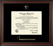 Wesleyan University Diploma Frame - Gold Embossed Diploma Frame in Studio