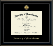 University of Massachusetts Amherst Diploma Frame - Gold Engraved Medallion Diploma Frame in Onyx Gold