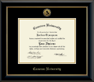 Cameron University Diploma Frame - Gold Engraved Medallion Diploma Frame in Onyx Gold