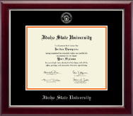 Idaho State University Diploma Frame - Silver Embossed Diploma Frame in Gallery Silver