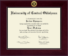 University of Central Oklahoma Diploma Frame - Century Gold Engraved Diploma Frame in Cordova