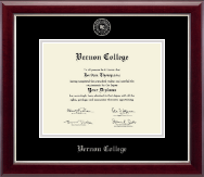 Vernon College Diploma Frame - Siver Embossed Diploma Frame in Gallery Silver