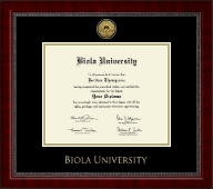 Biola University Diploma Frame - Gold Engraved Medallion Diploma Frame in Sutton