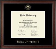 Biola University Diploma Frame - Gold Embossed Diploma Frame in Studio