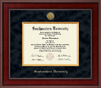 Southwestern University Diploma Frame - Presidential Gold Engraved Diploma Frame in Jefferson