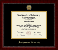 Southwestern University Diploma Frame - Gold Engraved Medallion Diploma Frame in Sutton