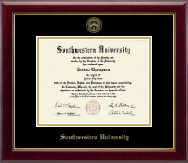 Southwestern University Diploma Frame - Gold Embossed Diploma Frame in Gallery