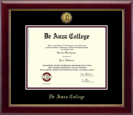 DeAnza College Diploma Frame - Gold Engraved Medallion Diploma Frame in Gallery