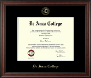 DeAnza College Diploma Frame - Gold Embossed Diploma Frame in Studio