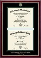 The University of North Carolina at Charlotte Diploma Frame - Masterpiece Medallion Double Diploma Frame in Gallery