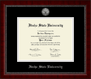 Idaho State University Diploma Frame - Silver Engraved Medallion Diploma Frame in Sutton